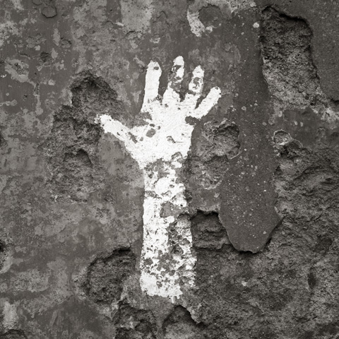 Painted Hand, Abandoned Village, Slaggan, Wester Ross, Scotland.